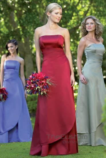 A-line Strapless Floor-length Satin Bridesmaid Dresses 1177318Shana