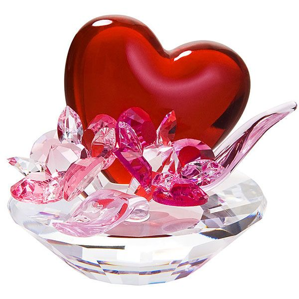 Valentineu0027s Day Gifts | Red Crystal Valentine Heart With Pink Crystal  Flowers | Crystal Gifts