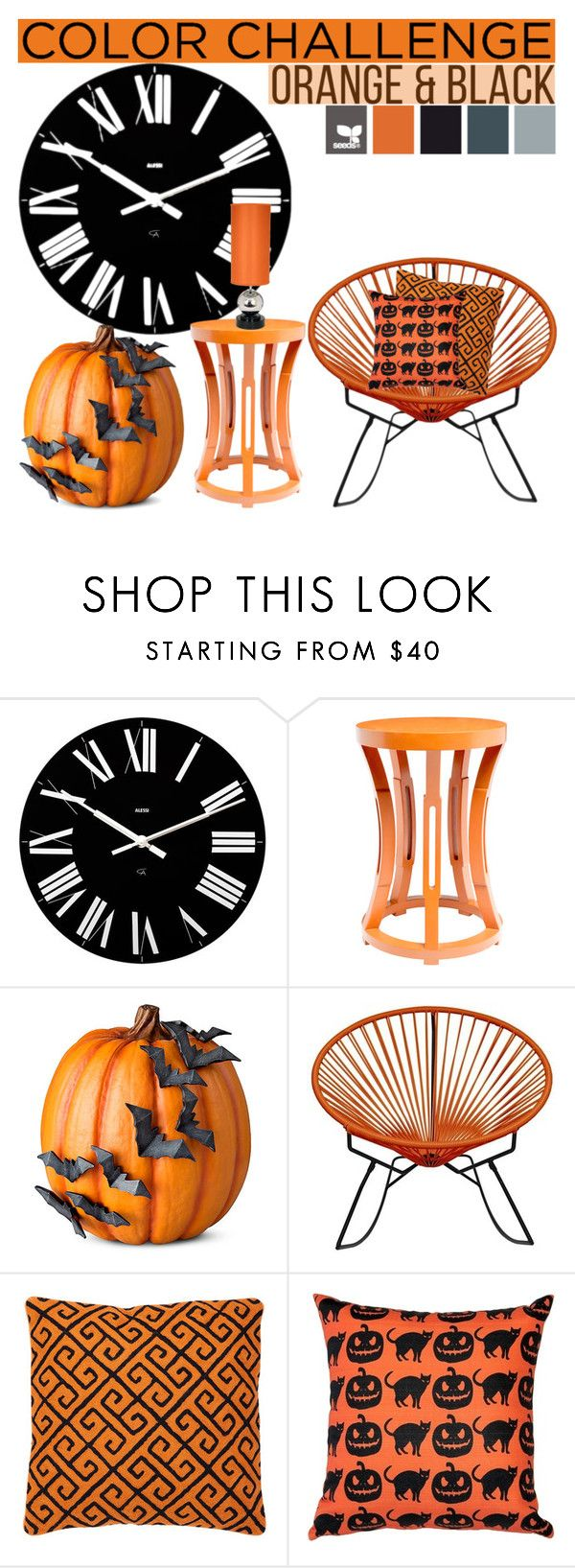 """Orange&Black"" by tanyaq ❤ liked on Polyvore featuring interior, interiors, interior design, home, home decor, interior decorating, Alessi, Bungalow 5, Improvements and Innit"