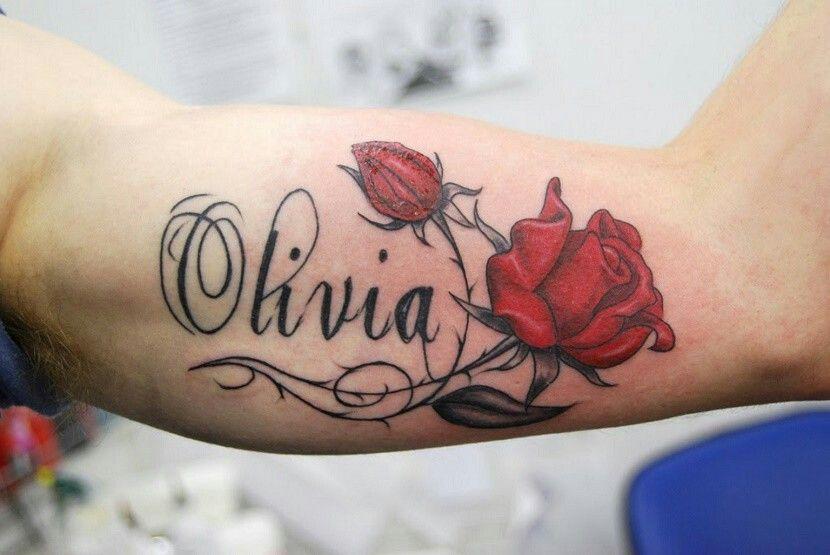 Nombre Con Rosa Tatuajes De Nombres En El Brazo Tatuajes De Nombres Tatuajes Para Nombre De Bebe