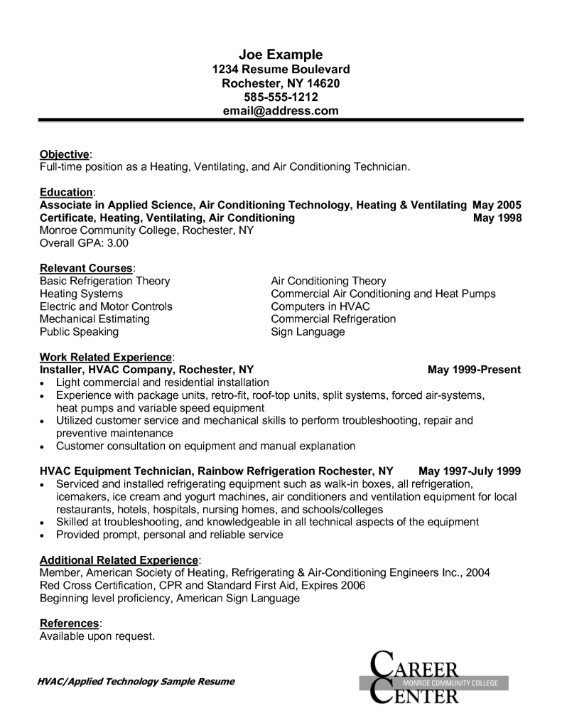 A C Technician Resume Format Format Resume Technician Cover Letter For Resume Resume Air Conditioning Technician