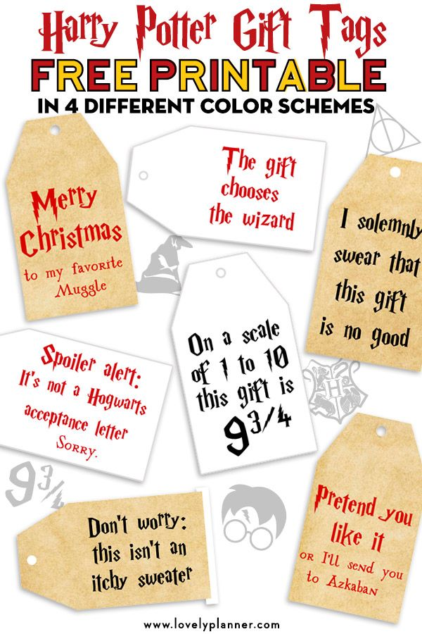 Free Printable Harry Potter Christmas Gift Tags -   23 diy ornaments harry potter ideas