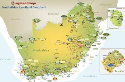 interactive tourist map SOUTH AFRICA, LESOTHO & SWAZILAND