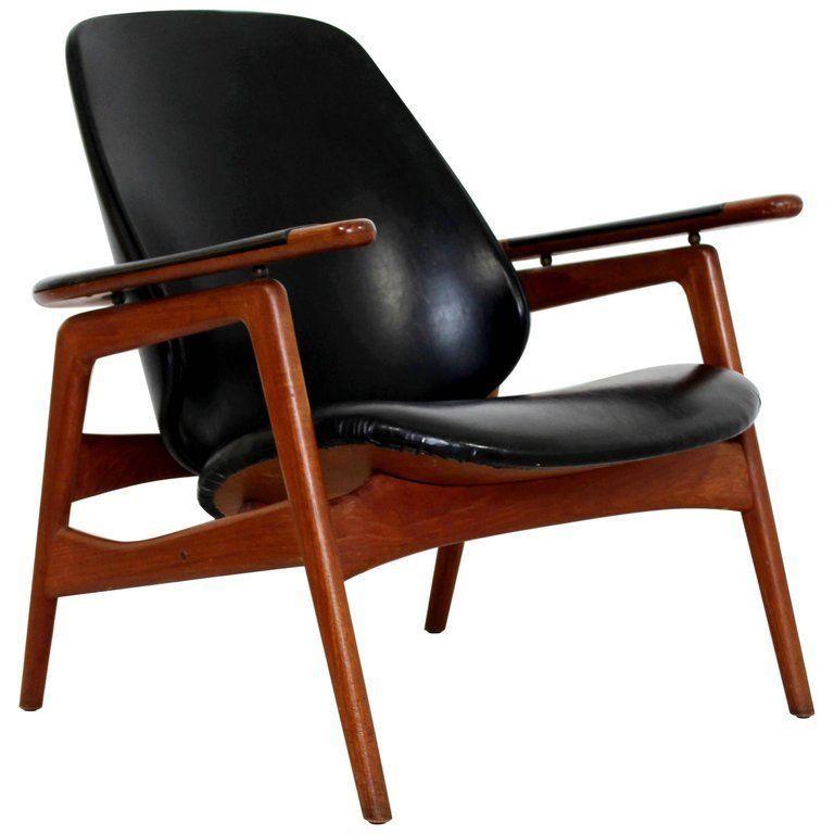 Mid Century Modern Danish Black Vinyl Teak Lounge Chair 1960s Arne Vodder Attr Teak Lounge Chair Mid Century Leather Lounge Chair Modern Leather Chair