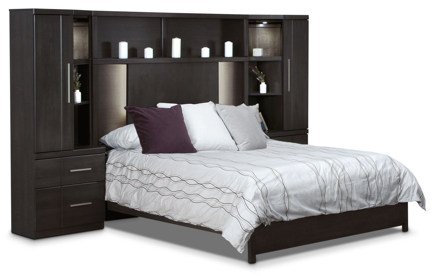 Seville 6Piece King Wallbed Set Charcoal 2799 Bed