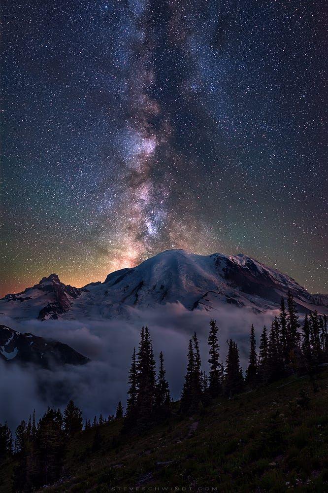 Mt Rainier Milky Way By Steve Schwindt On 500px Night Landscape Milky Way Night Skies
