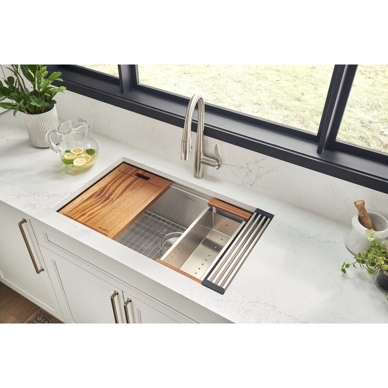 Roma Workstation Ledge 32 L X 19 W Undermount Kitchen Sink With Basket Strainer Stainless Steel Kitchen Sink Undermount Kitchen Sinks Stainless Steel Kitchen