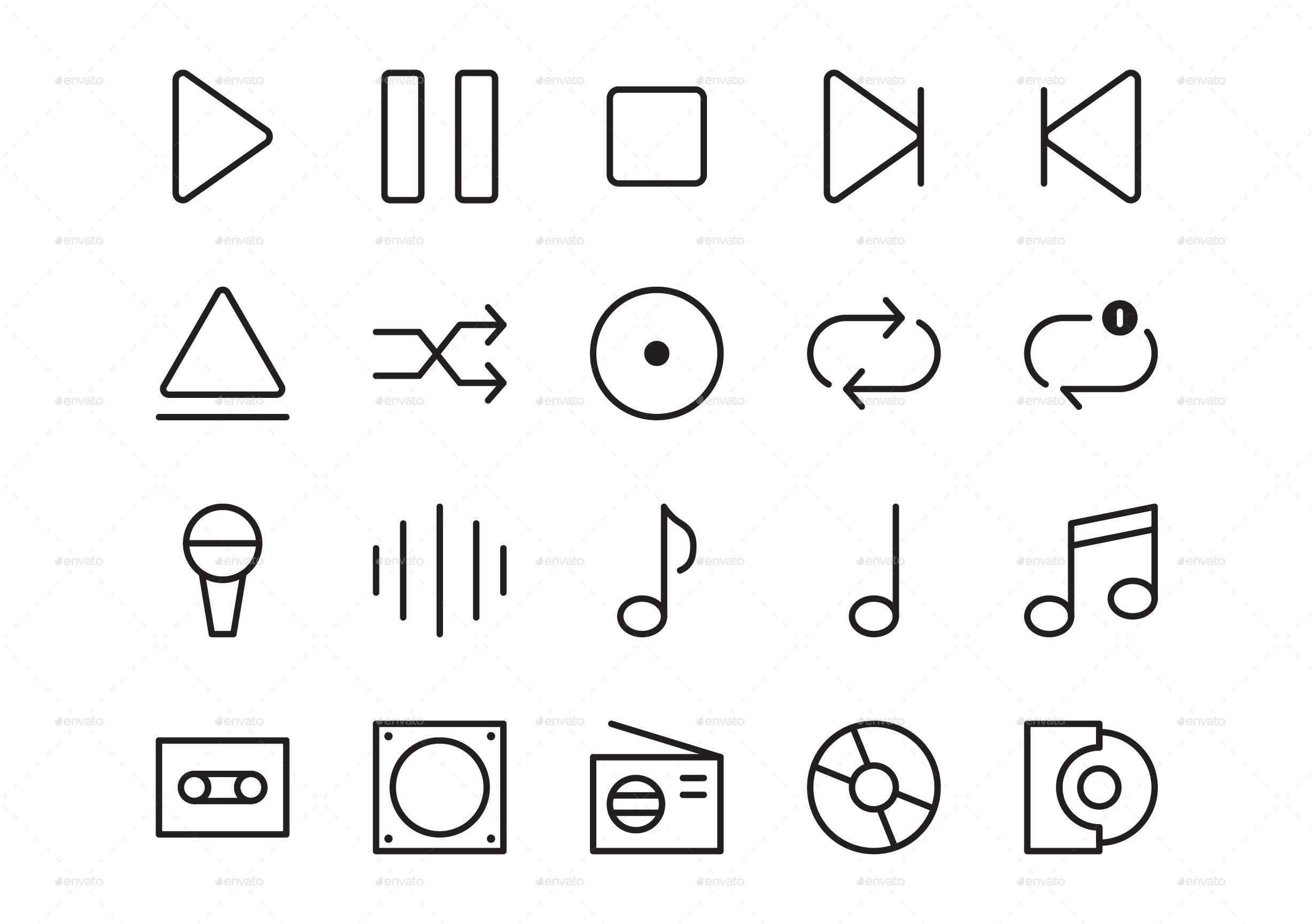 50 Music Player Icon Set Icon set, Music player design