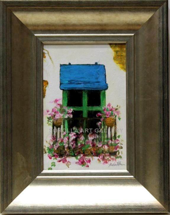 Isabel Yllescas : Balcony. Medium: Oil on wood Measurements (cm): 29x22 Canvas measurements (cm): 19x12 Interior frame: No.Flowers, seascapes, lanscapes... Little artworks ideal to make a gift. $47.91