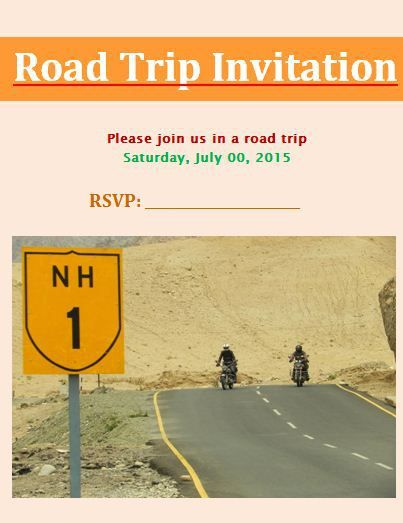 Road Trip Invitation Template Design Work Pinterest - Bylaws Templates