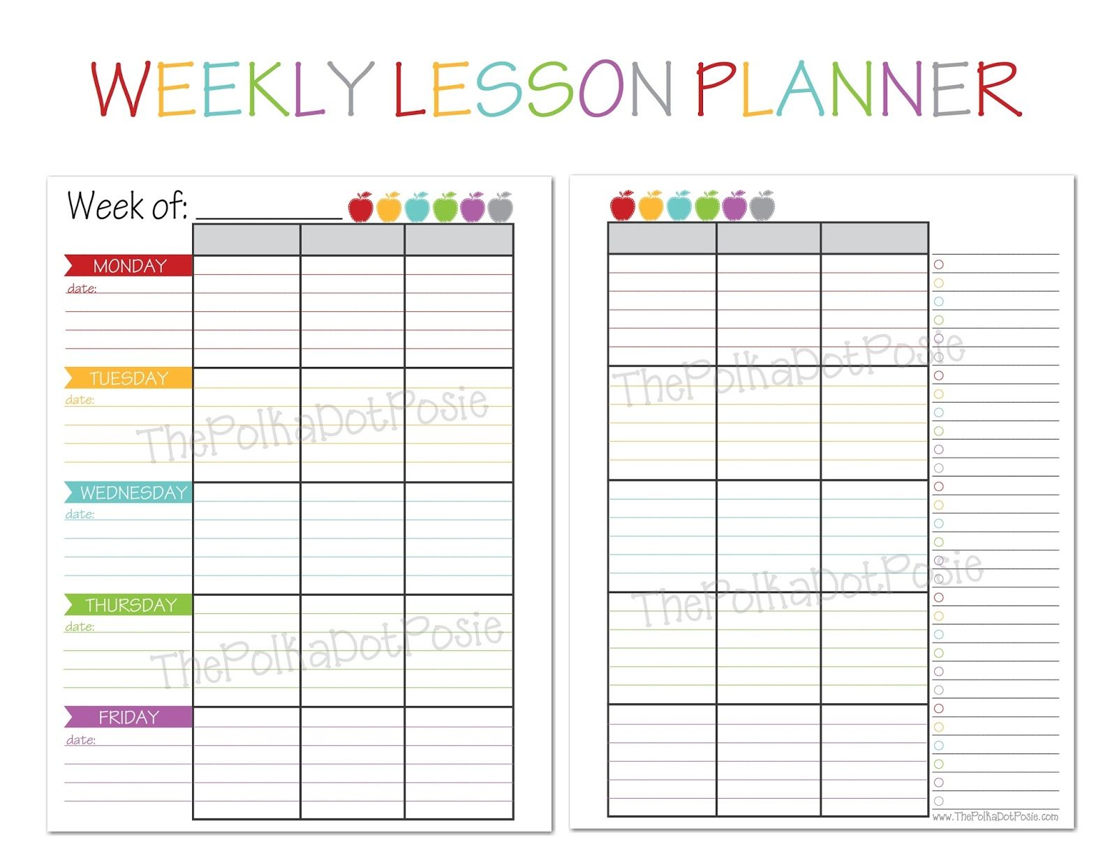 Weekly Lesson Plan Calendar : The polka dot posie new teacher homeschool planners