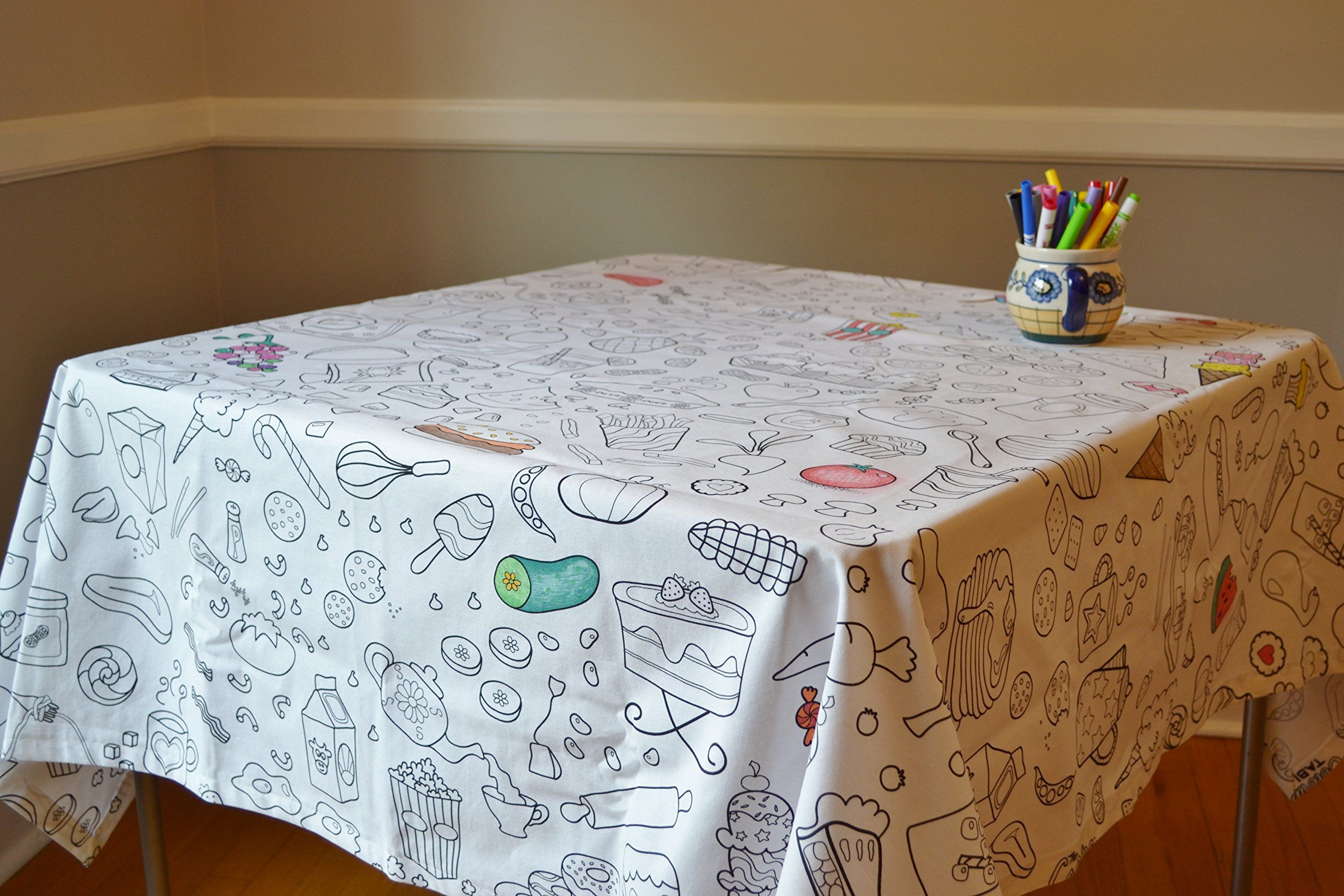 Download The Coloring Table - Food Fun Tablecloth   Table cloth, Tablecloth fabric, Washable crayons