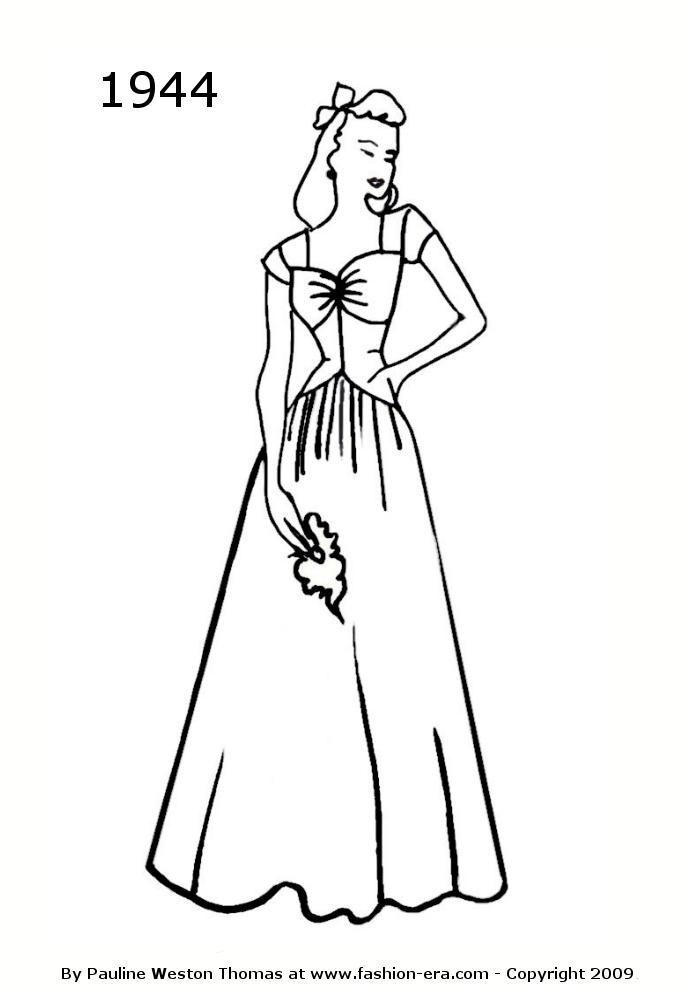 1944 Fashion | Fashion silhouette, Fashion history ...