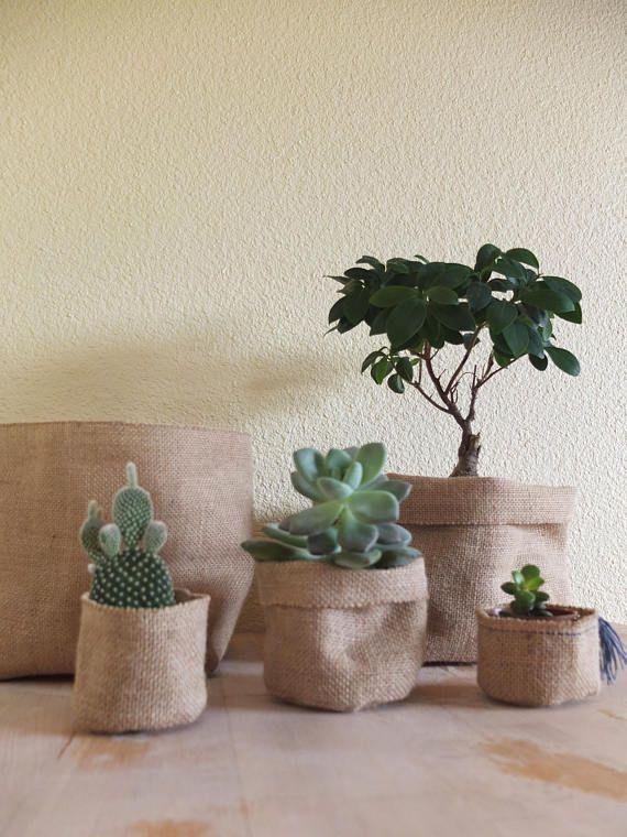 jute pot holder burlap planter storage basket medium. Black Bedroom Furniture Sets. Home Design Ideas