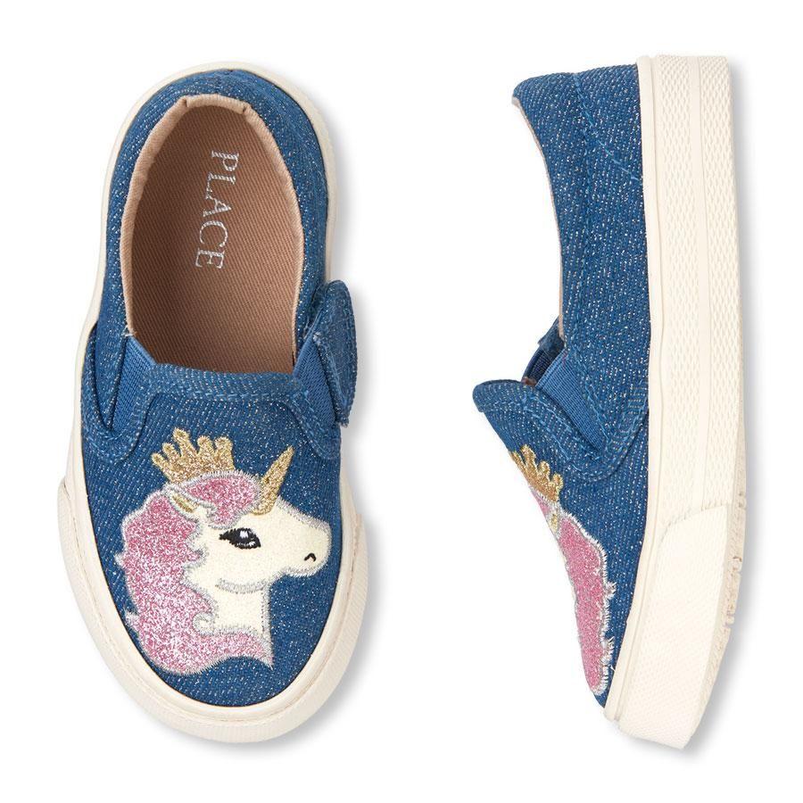746eef04df4c4 Toddler Girl Unicorn Glitter Denim Slip-On Sneakers | add ...