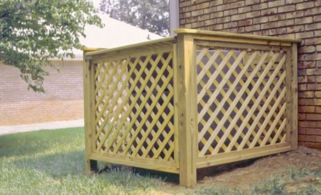 Disguise Your Ac With A Diy Louvered Screen Air Conditioner Screen Pool Equipment Cover Outdoor Air Conditioner