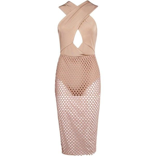 Boohoo Rae Crossover Top Mesh Skirt Overlay Midi Dress | Boohoo ($35) ❤ liked on Polyvore featuring dresses, pink cocktail dress, bodycon midi dress, pink tuxedo, bodycon dress and pink maxi dress