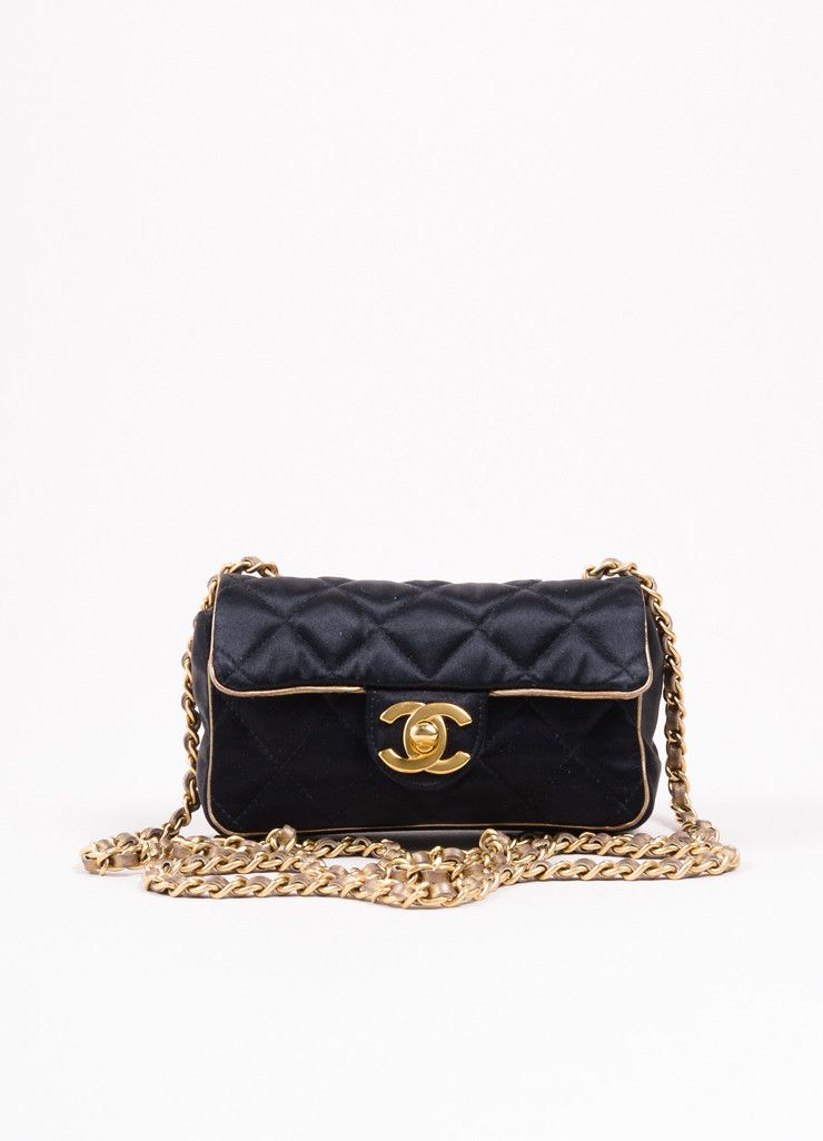 5602efa9cccf Black and Gold Toned Satin Quilted Chain Strap