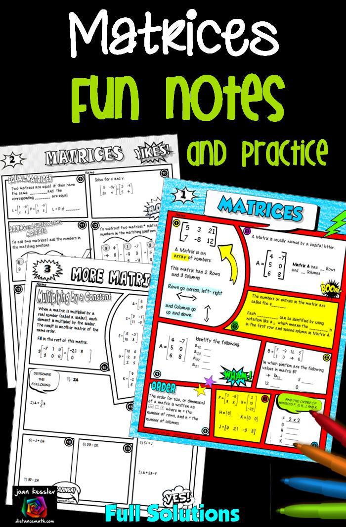 Matrices Comic Book FUN Notes plus Practice | Secondary Math