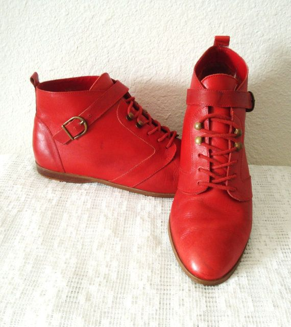 VINTAGE 80s Red Leather Flat Lace up Ankle Boots with Buckle ...