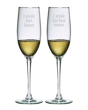 Set of 2 'Stole Her Heart' Flutes