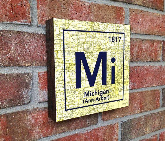Michigan Periodic Table Map Wall Art | Michigan // Home Decor ...