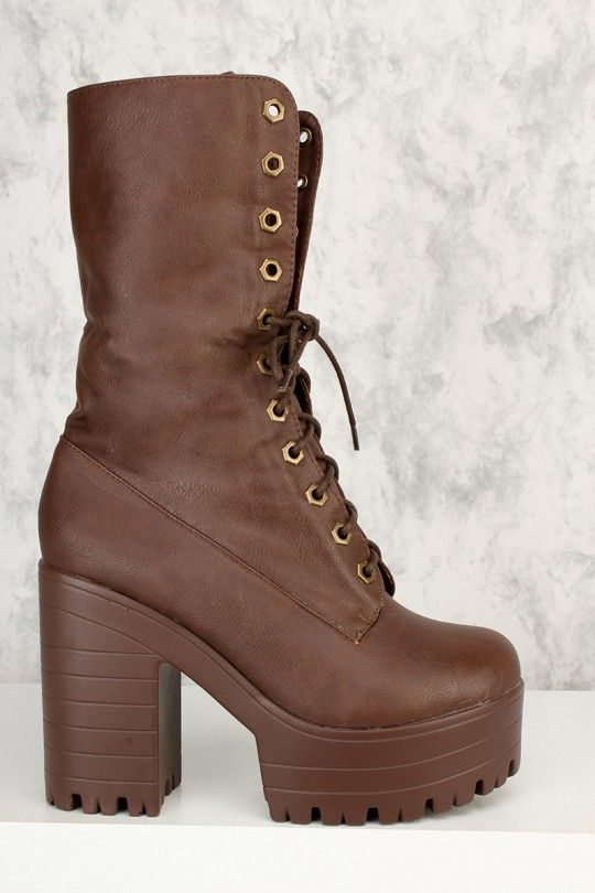 2788dbbbeece Brown Front Lace Up Platform Pump Chunky Heel Boots Faux Leather ...
