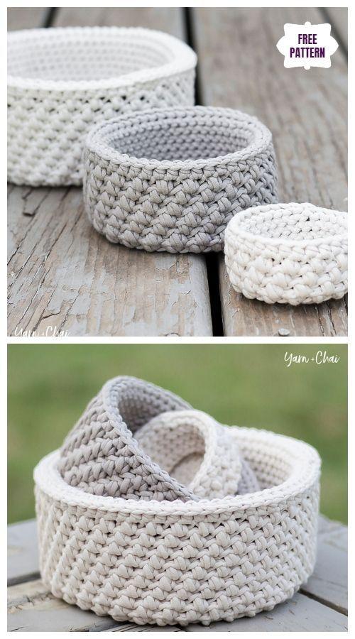 Photo of Crochet Mini Nesting Baskets Free Crochet Pattern #baskets #crochet #hakeln …