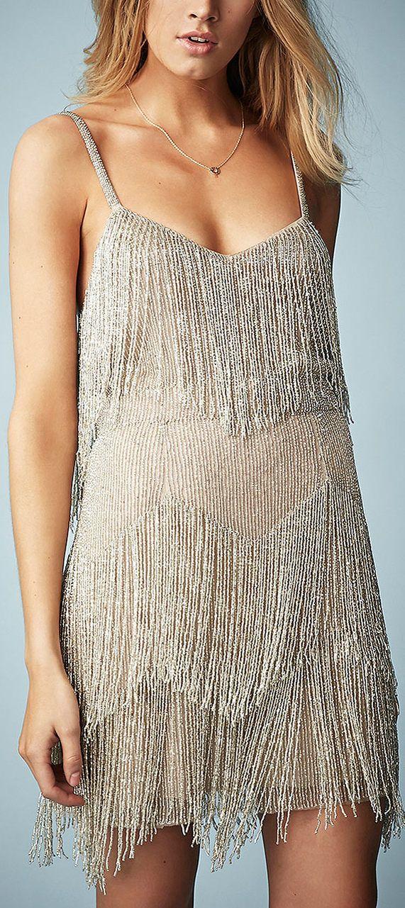 Kate Moss Beaded Fringe Tiered Dress