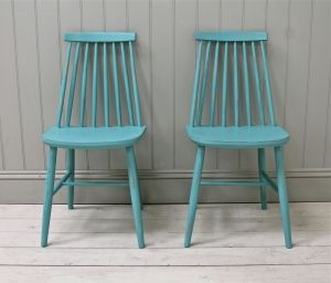 Pair Of Distressed Spindle Back Chairs - For Sale | Distressed But Not Forsaken
