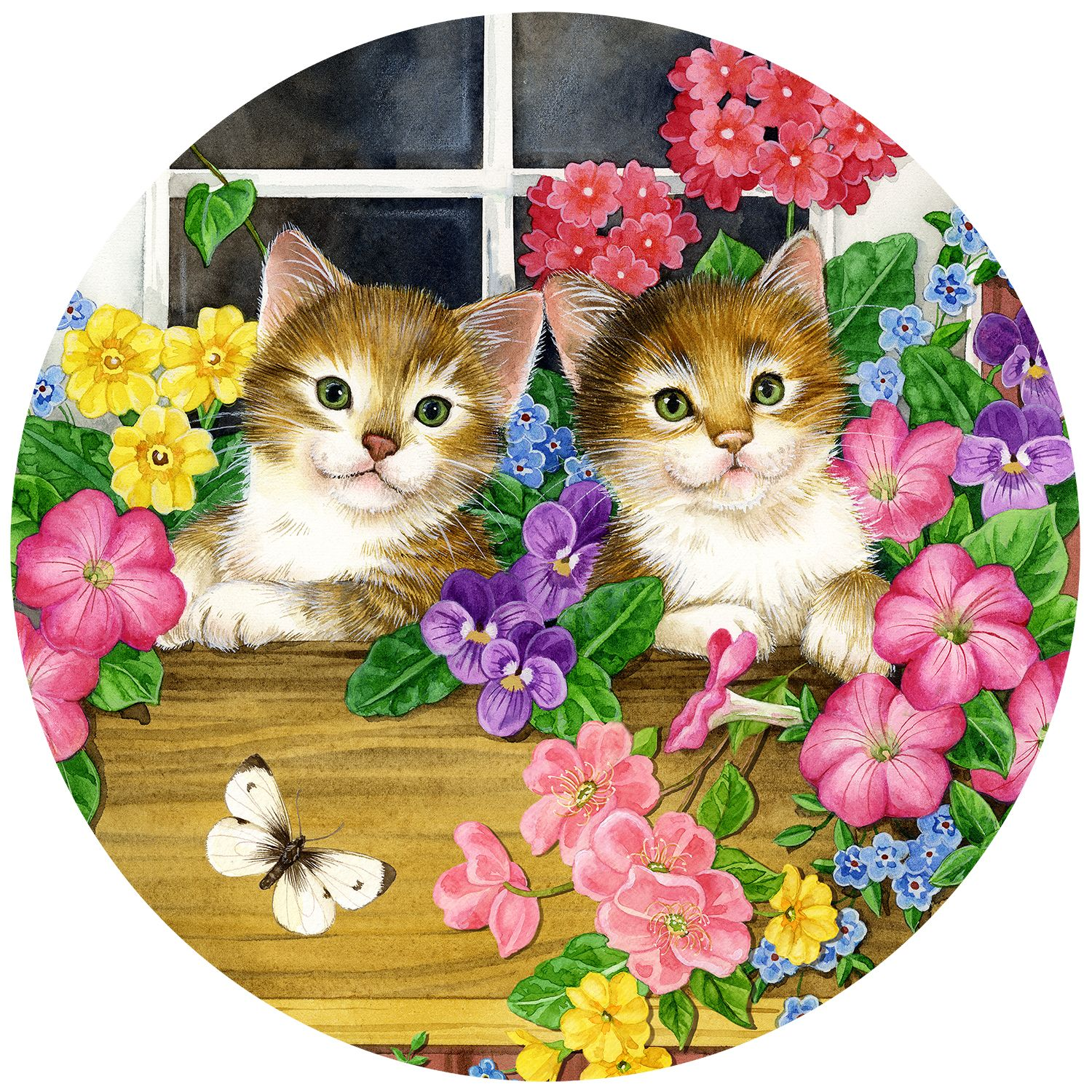 Jane Maday Rounds Whiskers at the Window 300 Pieces 300