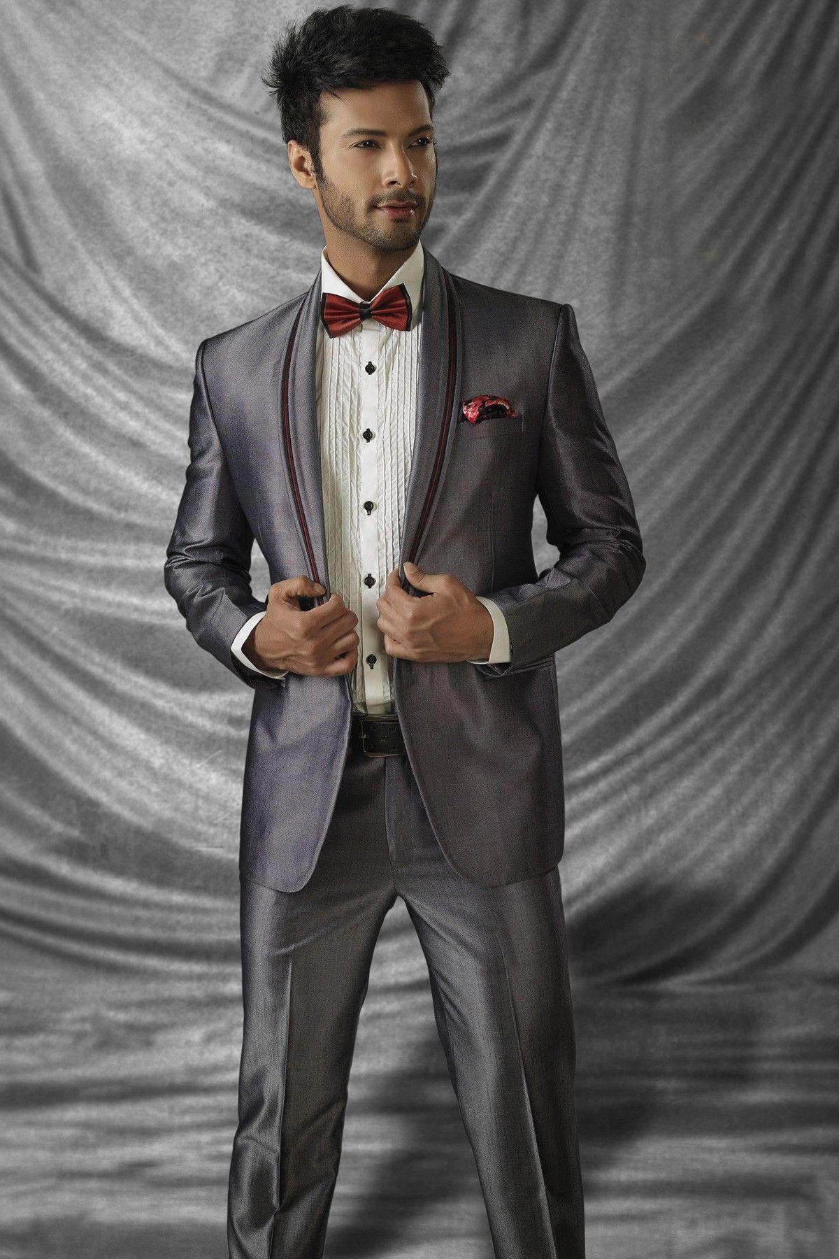 Grey colour Indian designer Men\'s reception Suit online shopping ...