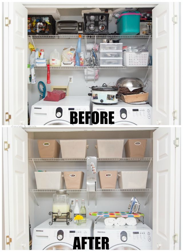 A Minimalist Way To Declutter And Organize Your Home Laundry Room Makeover Before After Chocolateandcarrots