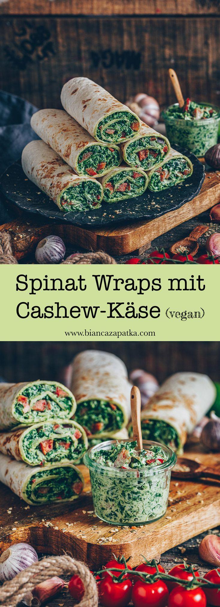Spinat Wraps mit Cashew-Käse (vegan) – Bianca Zapatka | Rezepte