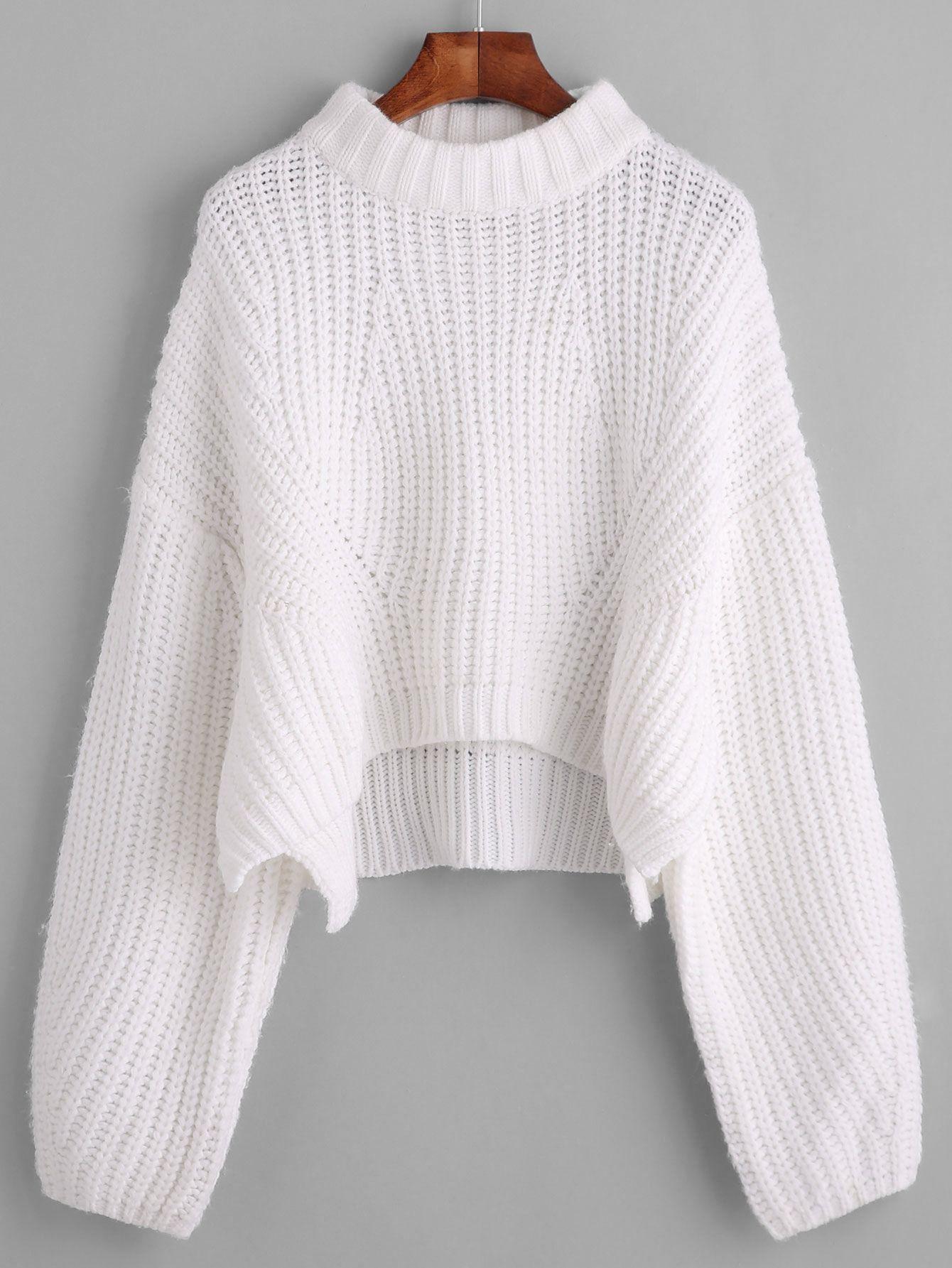 White Drop Shoulder Lantern Sleeve Crop Sweater | Shoulder, Drop ...