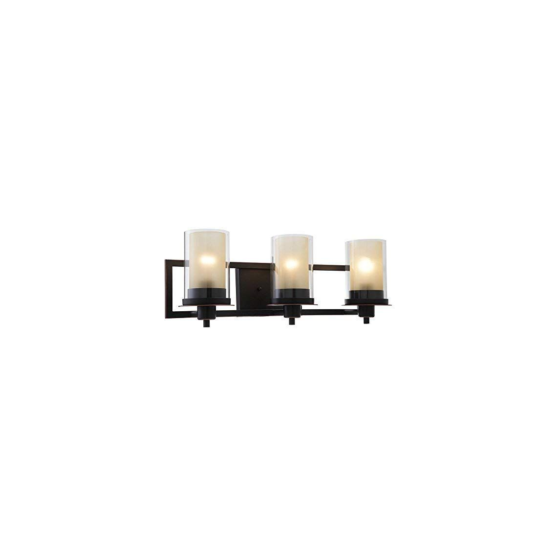 Photo of Designers Impressions Juno Oil Rubbed Bronze 3 Light Wall Sconce/Bathroom Fixture with Amber …
