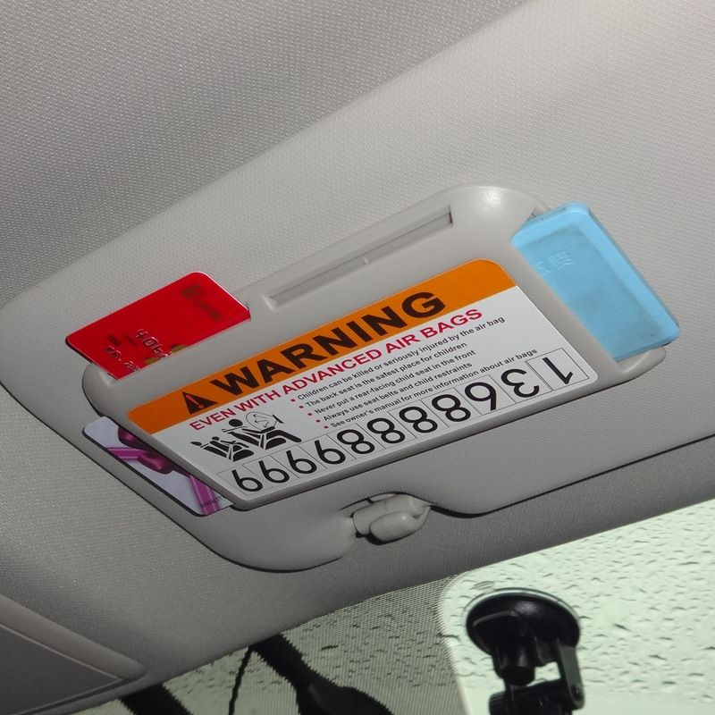 Car Sun Visor Card Box Temporary Parking Phone Number Card