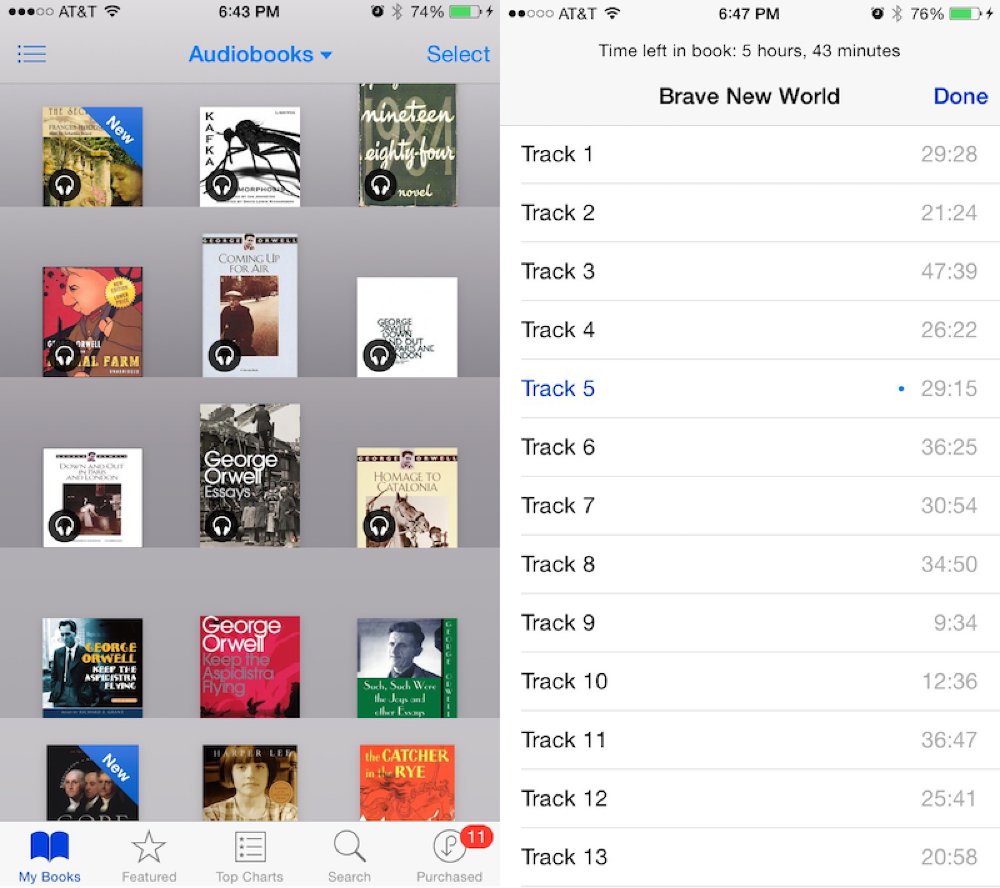 Apple Moves Audiobooks into iBooks App, Adds Chapter