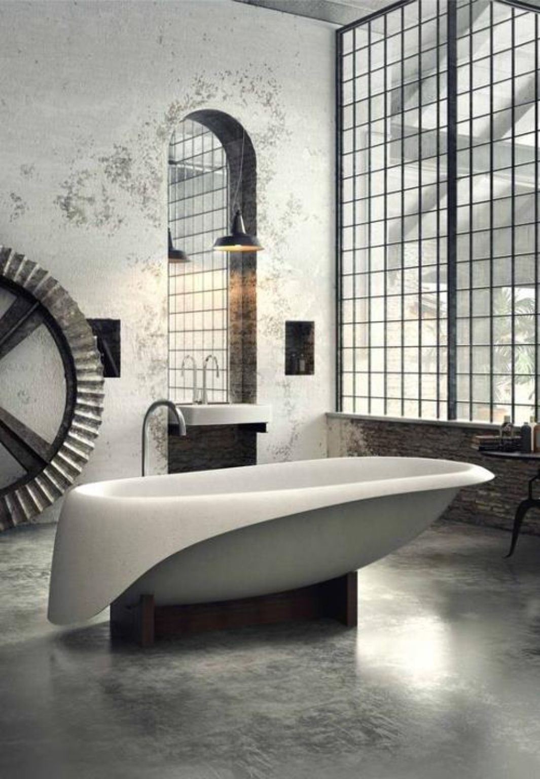 Modern Industrial Bathroom With Huge Factory Windows   Could Hang A Metal  Grate Like This On Part 44
