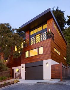 modern house with garage underneath House Decor Pinterest