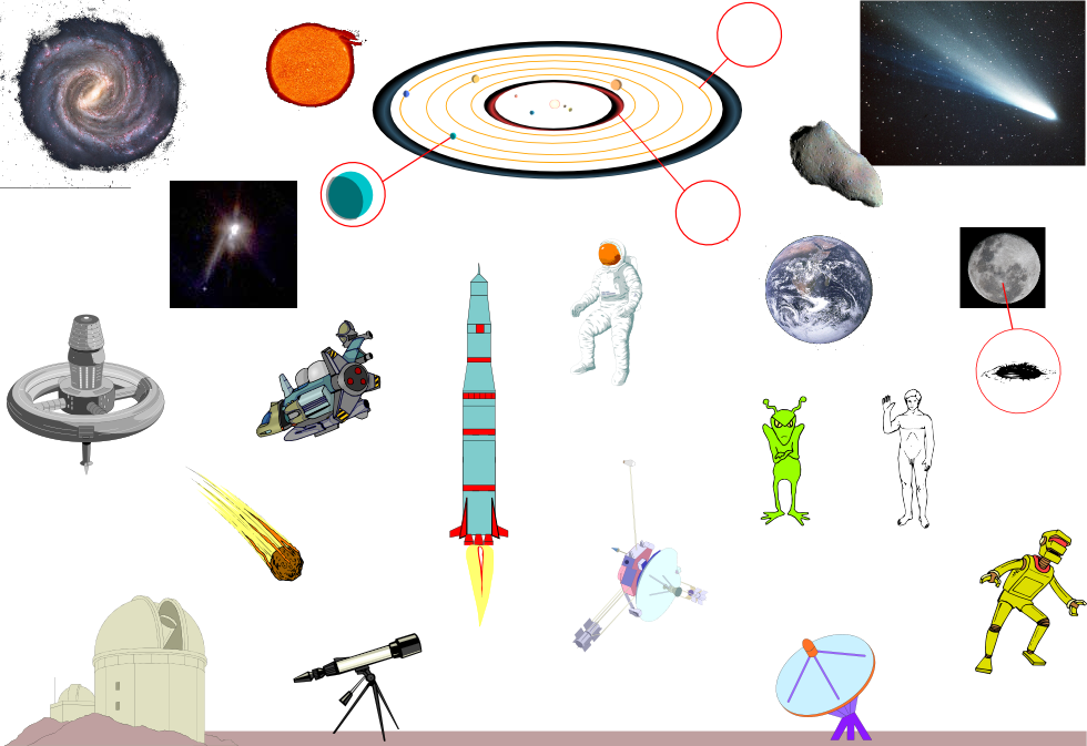 Space. Online vocab list with pictures. Hover over the