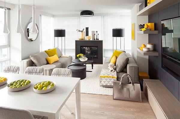Giallo e grigio nel salone 25 idee di abbinamenti idee for Idee salone