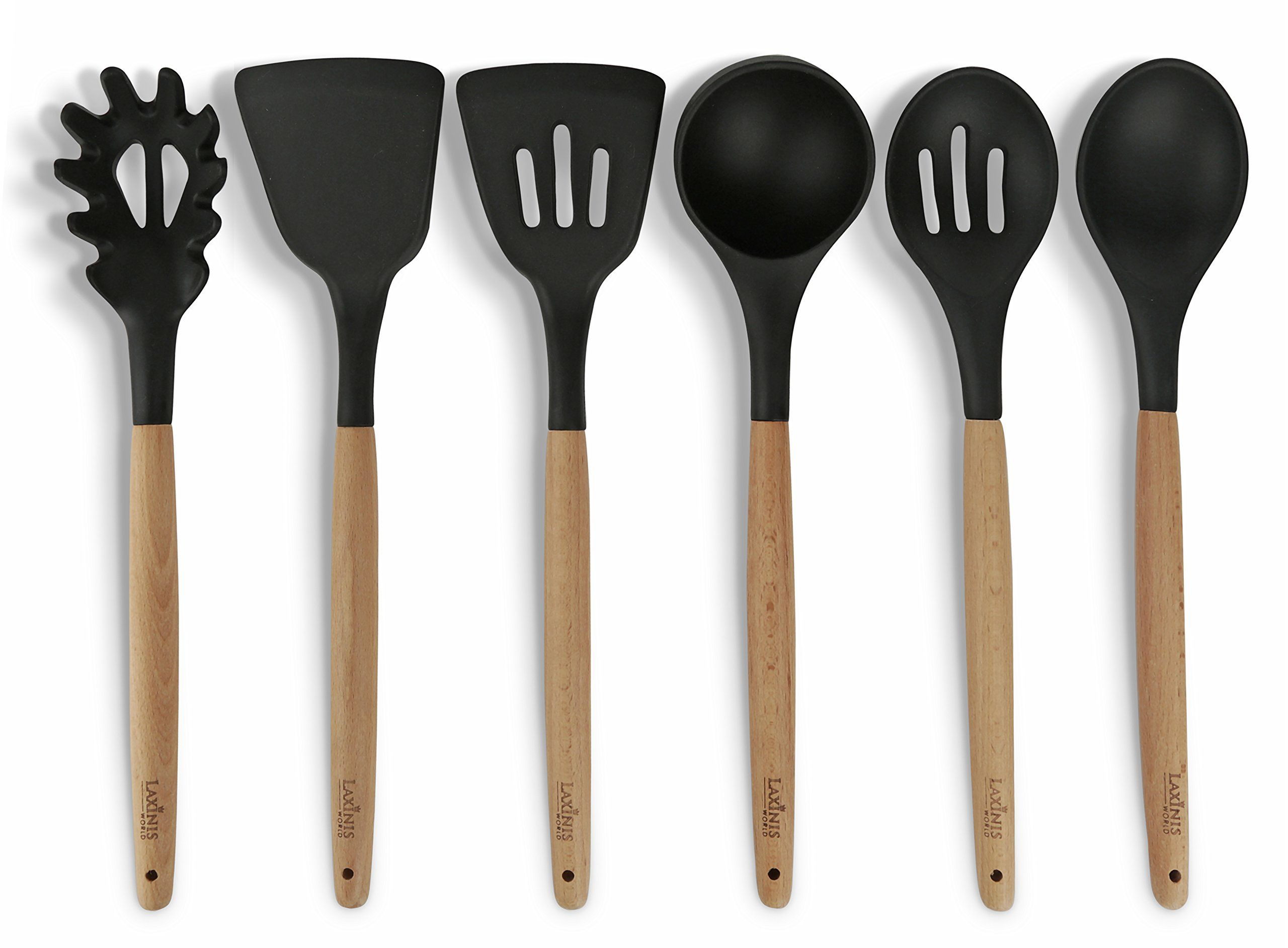 Delightful 6 Pc. Eco Friendly Beech Wood And Silicone Kitchen Utensil Set, Black  Silicone