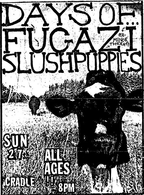 Show flyer for Fugazi show at Cat's Cradle in Chapel Hill, North Carolina on 9/27/87. Courtesy of Brent Griffith.