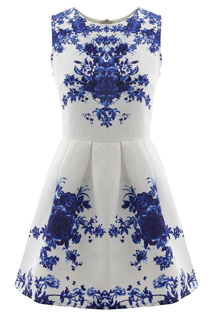 f42ca20a03b3 Floral Jacquard Sleeveless A-line Skater Dress (BUT THE ONE WITH THE PINK  BOTTOM AND ALL WHITE TOP)
