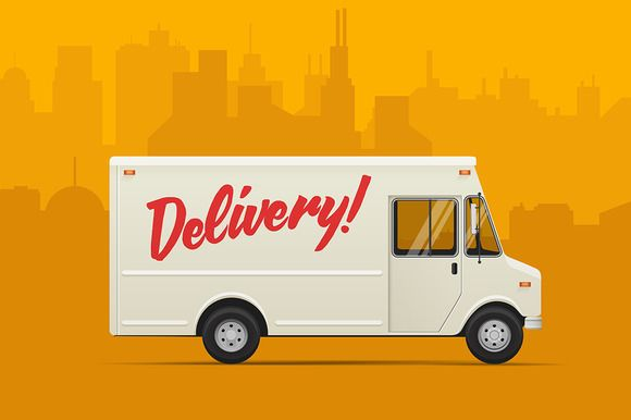 Delivery Truck Vector Illustrations With Images Trucks