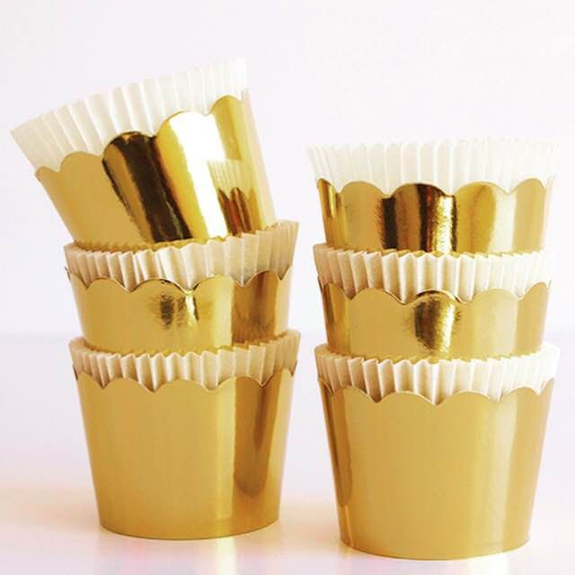 Mirrored golden cupcake wrappers with liners ~sold in 10 pcks