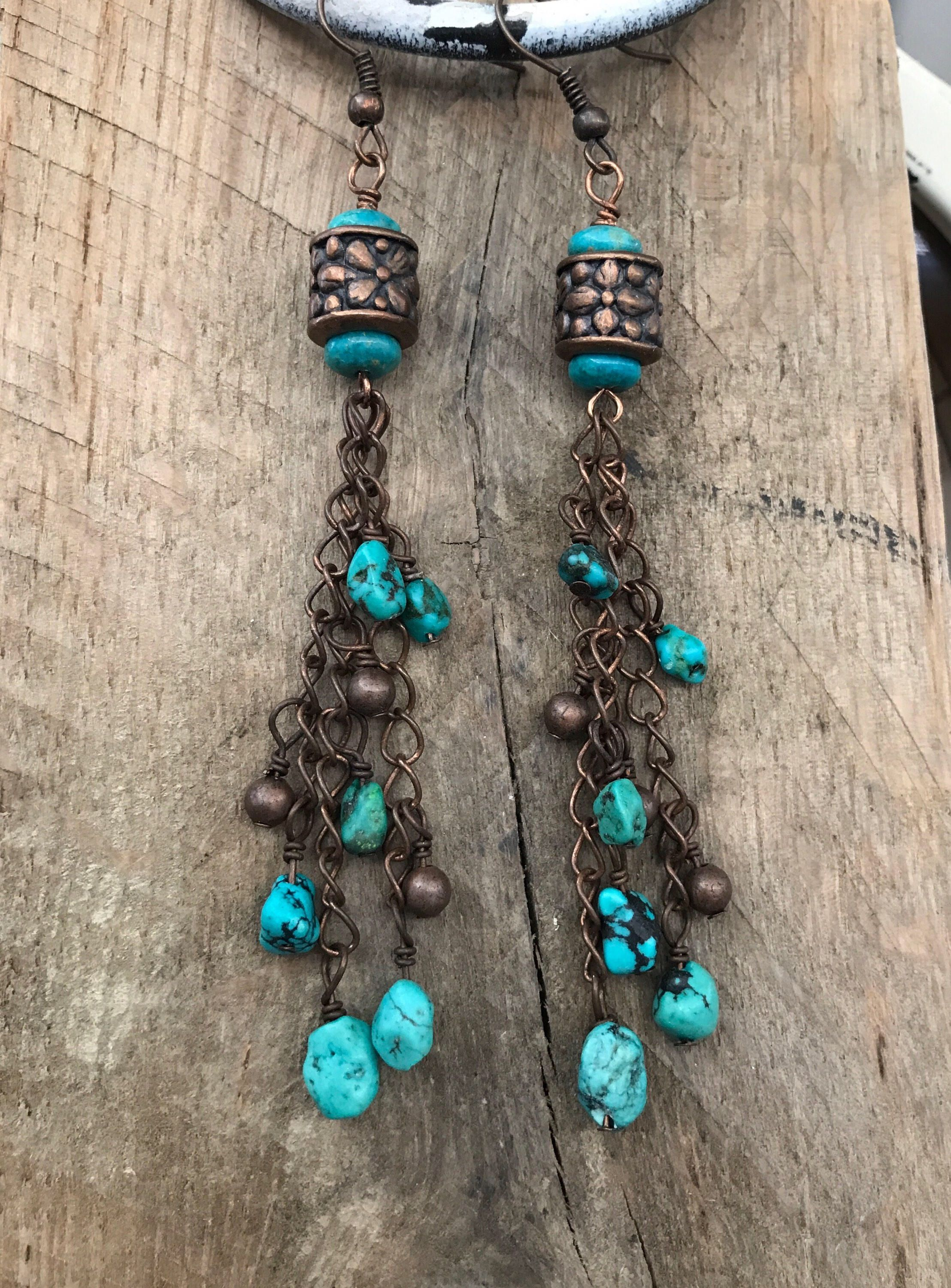 Long Turquoise And Copper Chain Dangle Earrings By