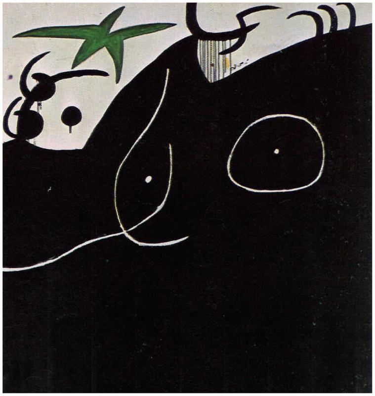 Dona davant l'estrella lliscant by Joan Miró, (1974)