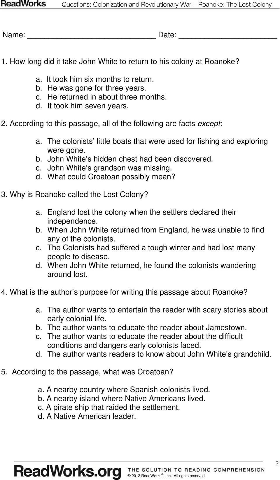 small resolution of Jamestown Colony Worksheet 5th Grade in 2020   5th grade worksheets